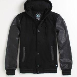 Modern Amusement black faux leather varsity jacket